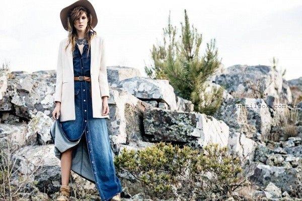 Vestido largo de jeans invierno 2016 - TUCCI