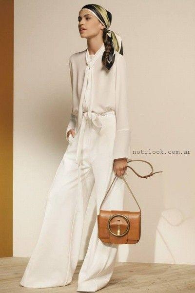 blusa blanca mangas largas Maria Cher otoño invierno 2016