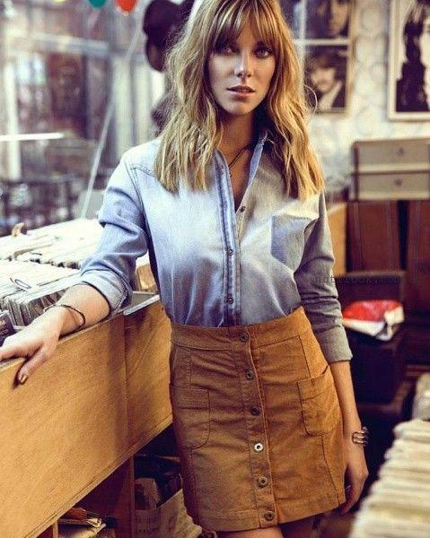 camisa de jeans y falda abotonada Peuque invierno 2016