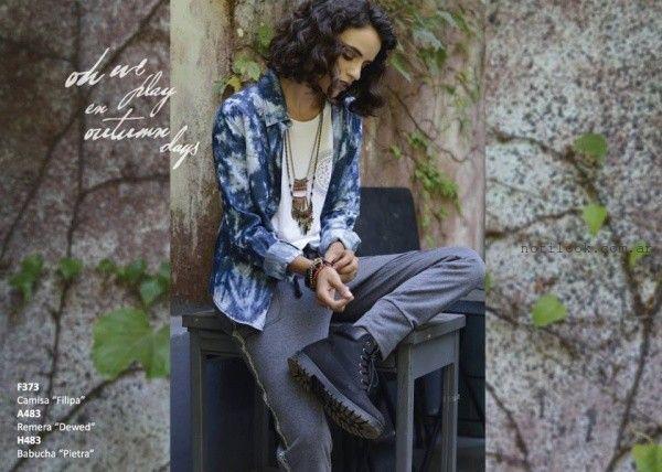 camisa denim batik Rimmel otoño invierno 2016