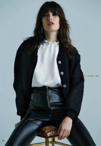 cardigan tejido y pantalon cuero invierno 2016 - Ay Not Dead