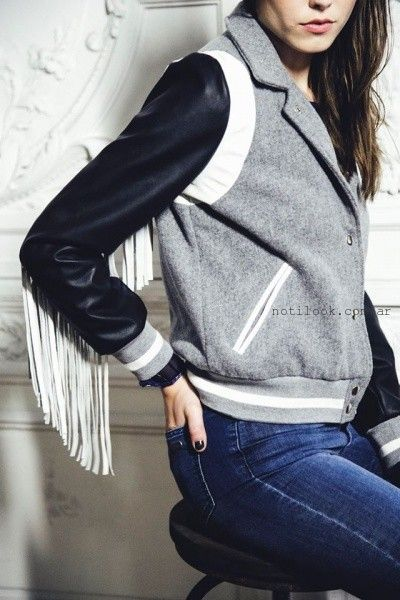 chaqueta con mangas de cuero y flecos uma invierno 2016