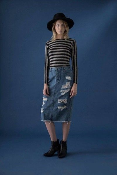 polleras de jeans con roturas Uvha otoño invierno 2016