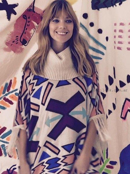 poncho tejido estampa geometrica invierno 2016 - Benito Fernandez