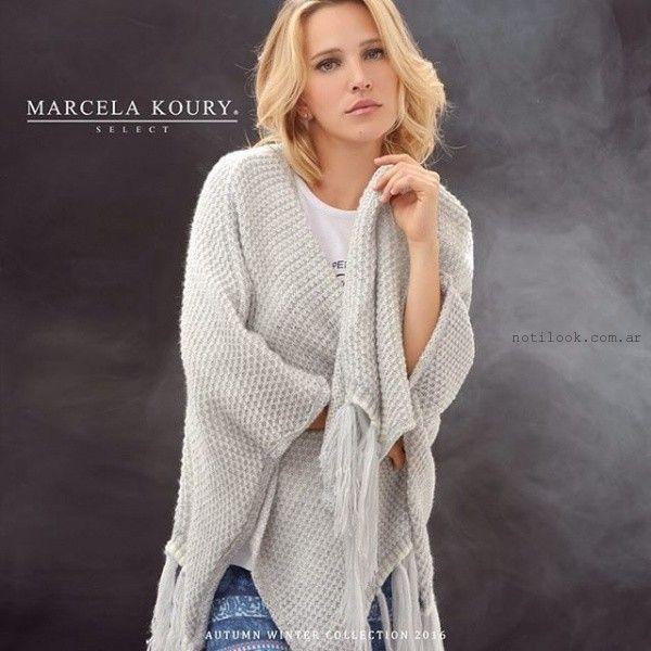 saco gris tejido  invierno 2016 Marcela koury select
