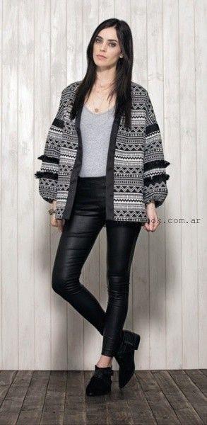 sacon tejido estampa etnica - Nucleo modas invierno 2016
