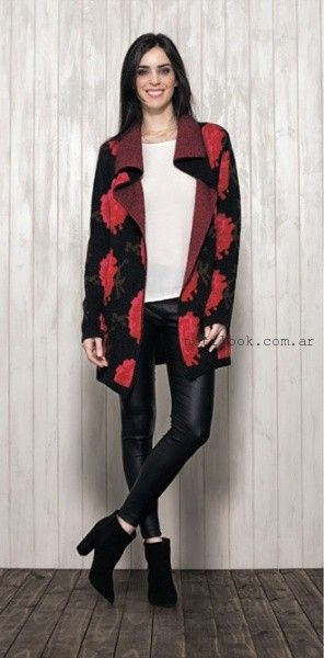 sacon tejido estampa floral - Nucleo modas invierno 2016