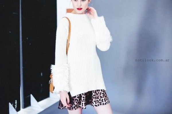 sweater con apliques de piel sintetica uma invierno 2016
