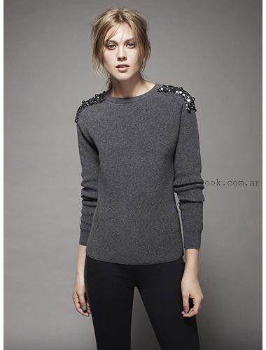 sweater gris bordado marca chocolate otoño invierno 2016
