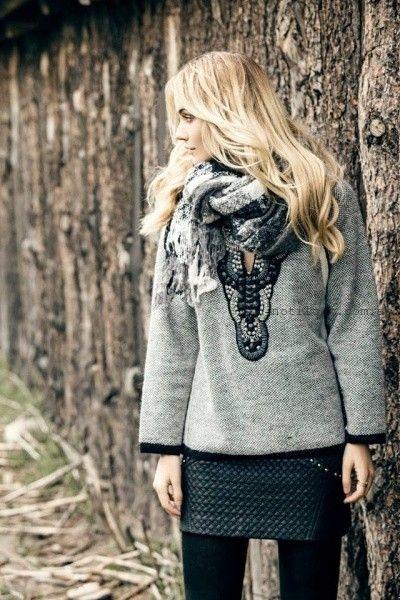 sweater tejido con bordados invierno 2016 India Style