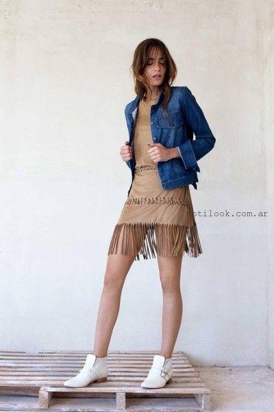 vestido corto de cuero otoño pura pampa otoño invierno 2016