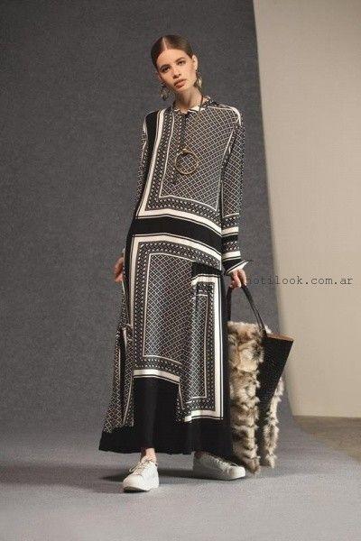 vestido de dia estilo tunica mangas largas Maria Cher otoño invierno 2016