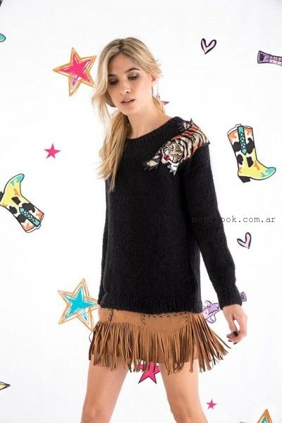 Agustina Saquer - Sweater tejidos con apliques de animales otoño invierno 2016