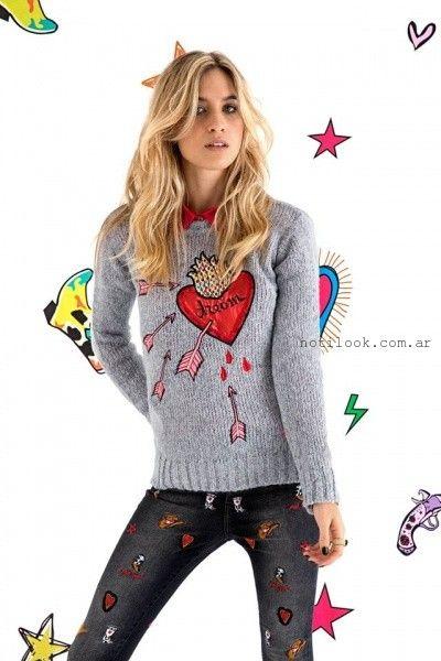 Agustina Saquer - Sweater tejidos gris otoño invierno 2016