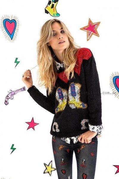 Agustina Saquer - Sweater tejidos negros otoño invierno 2016
