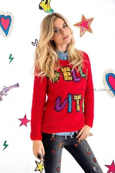 Agustina Saquer - Sweater tejidos rojos otoño invierno 2016
