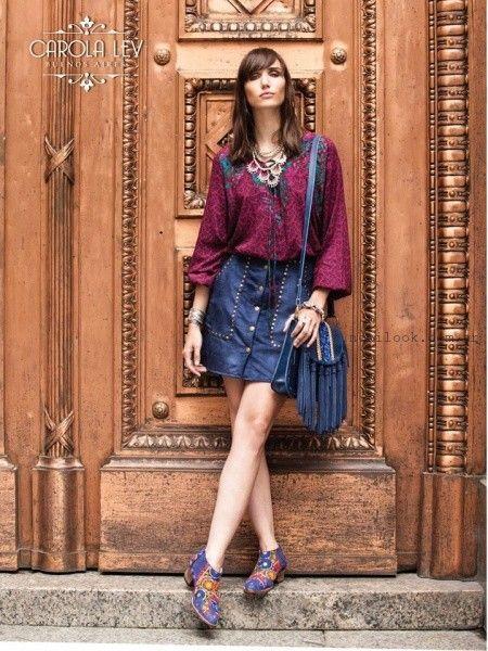 Minifalda abotonada de jeans con tachas invierno 2017 - carola lev