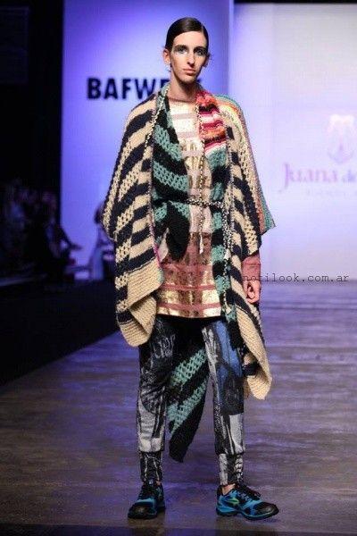 Poncho tejido a rayas invierno 2016 - Juana de Arco