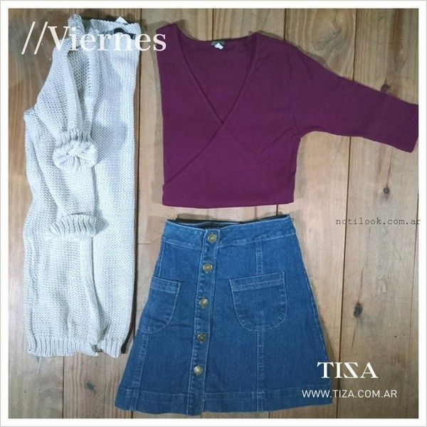Tiza - minifalda abotonada de jeans invierno 2016