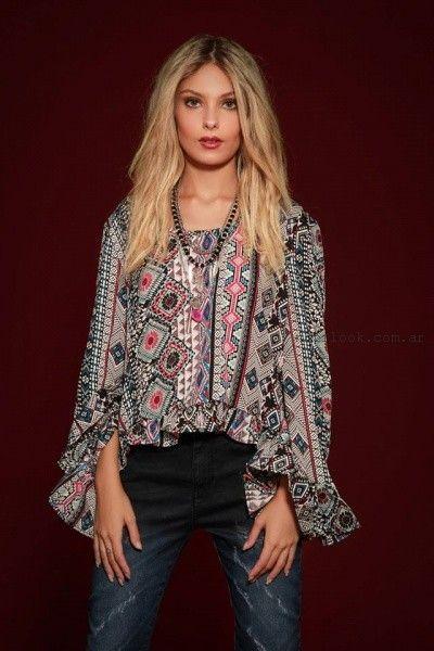 blusa con mangas amplias estampadas Sophya invierno 2016