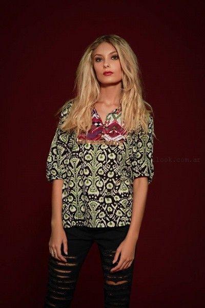 blusa con mix de estampas sophya invierno 2016