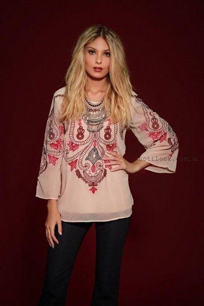 blusa de gasa bordada Sophya invierno 2016