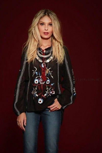 blusa de gasa con bordados sophya invierno 2016