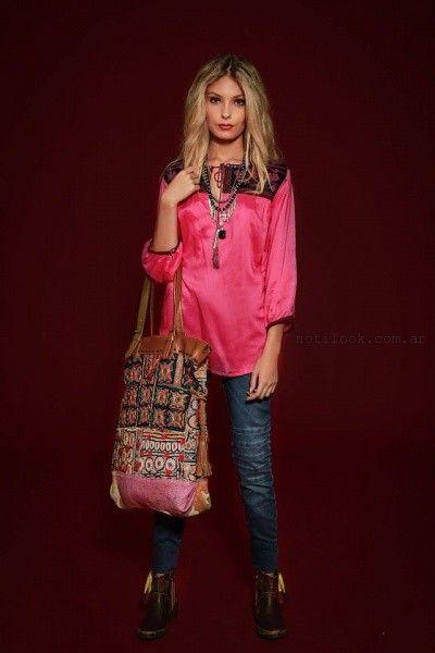 blusa de seda con encaje sophya invierno 2016