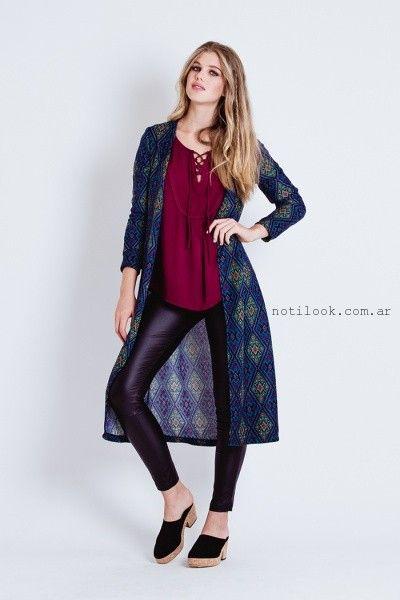 calza engomada blusa y kimono estampado largo tibetano invierno 2016