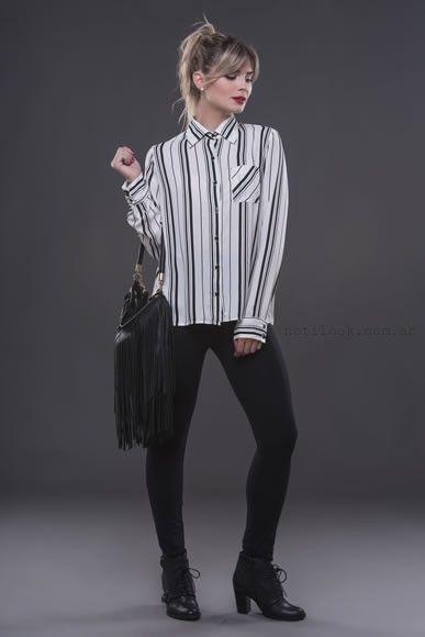 camisa a rayas mangas largas para mujer alma jeans otoño invierno 2016