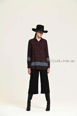 camisa estampada con crop pant negro invierno 2016 - AG STORE
