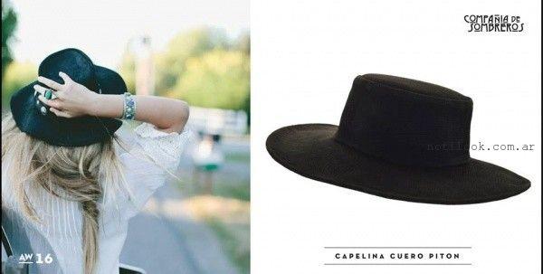 capelina de cuero piton invierno 2016 compañia de sombreros