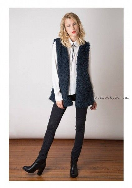 chaleco de moda azul nuara invierno 2016