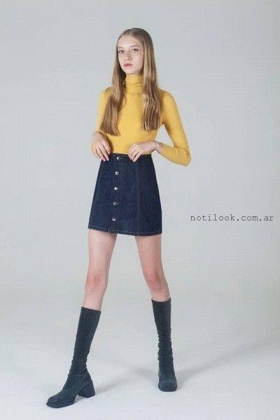 falda corta abotonada invierno 2016 by Yosy lovers