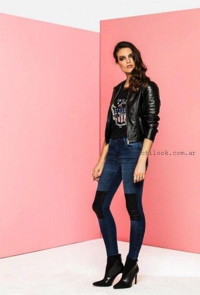 jeans con parches de cuero invierno 2016 tabatha jeans ab40da9d3479
