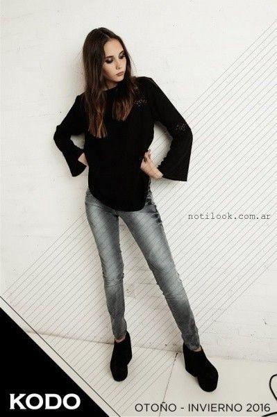 jeans gris y blusa con guipur  Kodo Jeans invierno 2016