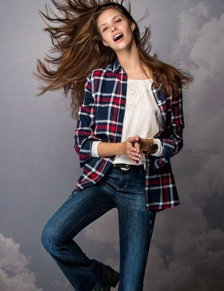 jeans oxford y camisa leñadora invierno 2016 Cuesta blanca