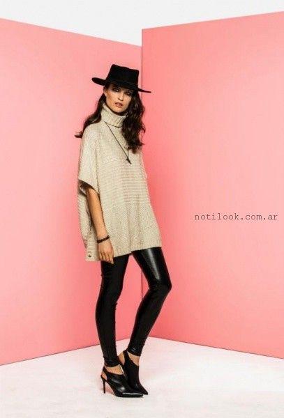 look con calza de cuero invierno 2016 tabatha jeans