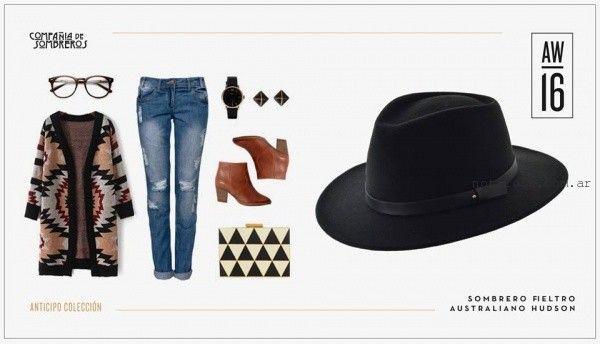 look con sombrero para mujer invierno 2016 compañia de sombreros ... 85943159e9a