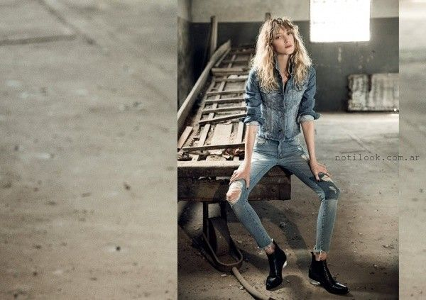 look total denim  Riffle jeans invierno 2016