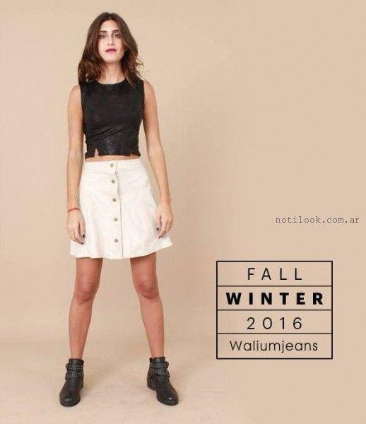 minifalda blanca jeans abotonada invierno 2016 WALIUM