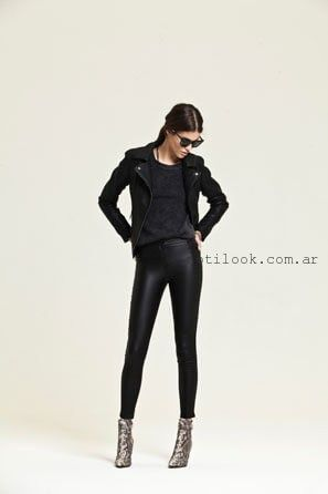 pantalon simil cuero negro invierno 2016 - AG STORE
