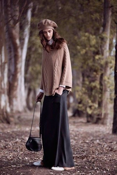 pollera larga y sweater oversize  mujer invierno 2016 - Cacharel