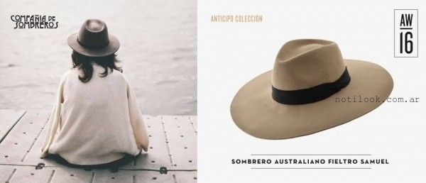 capelina de cuero piton invierno 2016 compañia de sombreros. sombrero de  fieltro australiano invierno 2016 compañia de sombreros dfae1b222dd