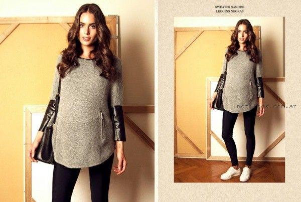 sweater con apliques de cuero para embarazadas  Maa Maternity invierno 2016