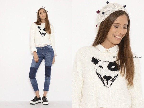 sweater con bordados juveniles Te lo juro otoño invierno 2016