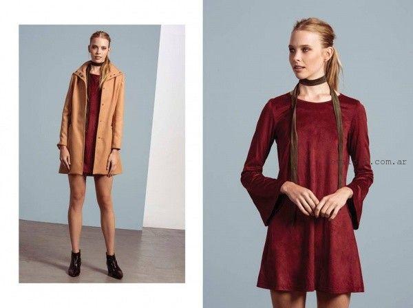 vestido corto gamuzado otoño invierno 2016 Estancias chiripa