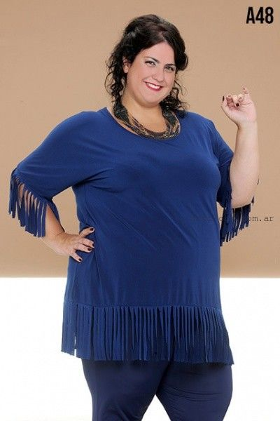 blusa con flecos talles grandes Loren invierno 2016