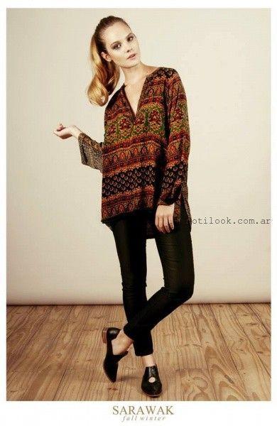 blusa estampadas con pantalon engomado SARAWAK invierno 2016