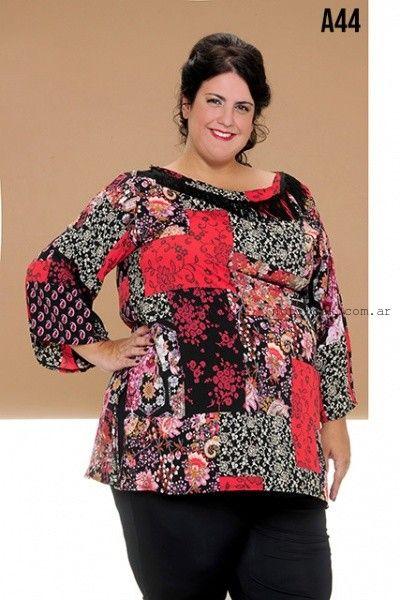 blusas estampadas en talles grandes Loren invierno 2016